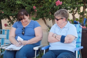 Jennifer and Rita Kennedy helping keep track of everything